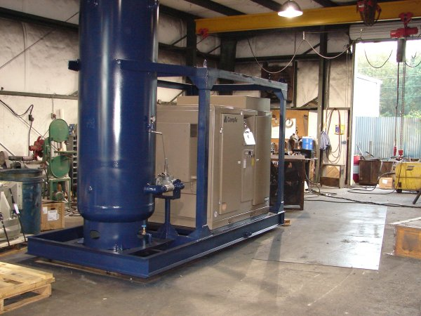 CompAir Leroi Rotary Screw Compressor mounted on fabricated skid with air receiver.